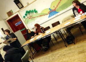 3rd May Burnley Labour Party All Women's Meeting in Jinnah Community centre. (L-R) S.Malik Chairperson, S.Hussain Community Activist, A.Khanim Community Activist and Julie Cooper Leader of Burnley Council.